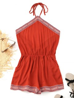 Halter Open Back Embroidered Romper - Brick-red M