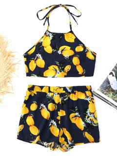 Open Back Cropped Lemon Top And Shorts Set - Purplish Blue M