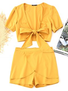 Bowknot Cropped Wrap Top And Tiered Shorts Set - Mustard L