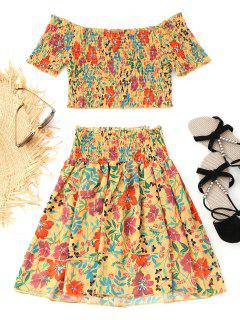 Off Shoulder Smocked Top And Tiered Mini Skirt Set - Mustard M