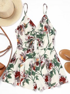 Gathered Floral Cut Out Romper - Floral S