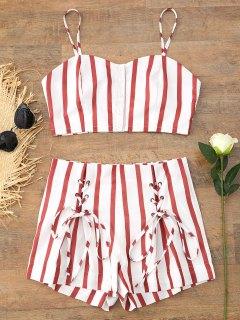 Cropped Button Up Stripes Oberteil Und Lace Up Shorts Set - Streifen  M
