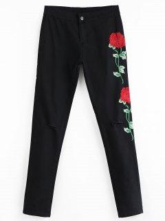 Pantalon à Broderies Florale Avec Découpe Au Genou  - Noir Xl
