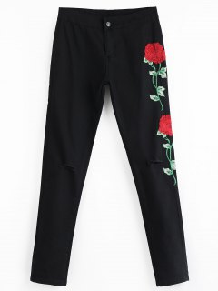 Floral Embroidered Patch Ripped Pants - Black L