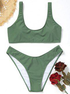 Plus Size Scoop High Cut Bikini Set - Army Green Xl