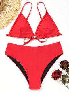 Plus Size High Waisted Bikini Set - Red Xl