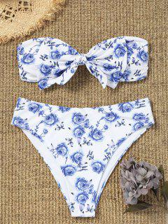 Plus Size Bowknot High Cut Bandeau Bikini - White 3xl