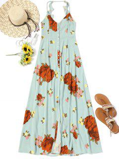 Buttons Long Beach Floral Dress - Light Green M