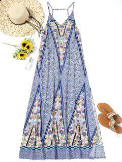 Printed Side Slit Long Beach Dress - M