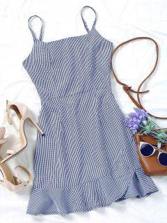 Back Zip Checked Ruffles Mini Dress - Blue L