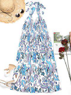 Empire Waist Flower Backless Halter Dress - Floral Xl