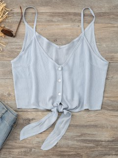 Cropped Button Up Tie Tank Top - Stone Blue S