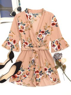 Belted Cross Front Floral Romper - Nude Pink M