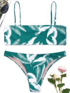 Ensemble Bikini à Bretelles Spaghetti Motif Feuilles - M