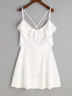 Robe Courte Volantée à Dos Croisé - Blanc S