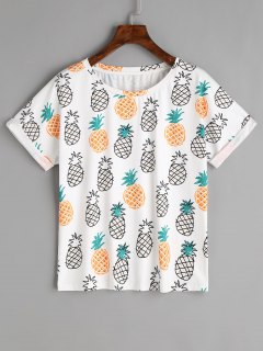 Rolled Up Sleeve Fruits T Shirt - White M