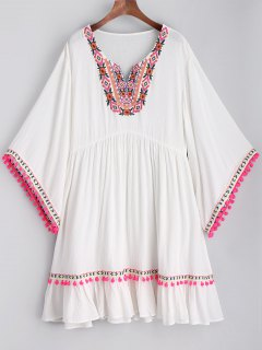 Embroidered Pom Poms Smock Beach Dress - White M