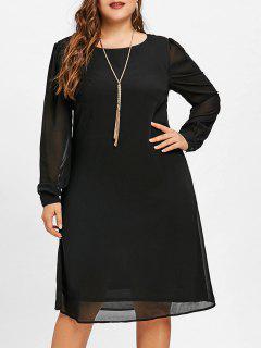 Robe Tunique En Mousseline De Soie à Manches Longues Et Grande Taille - Noir 3xl