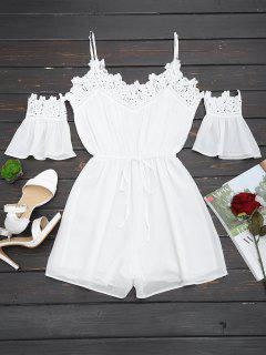 Crochet Panel Belted Cami Romper - White S