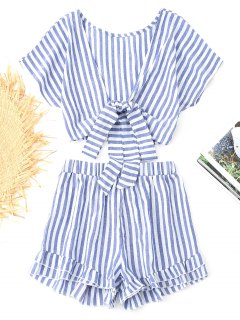 Bowknot Stripes Top And Tiered Hem Shorts Set - Blue L