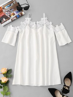 Lace Panel Cold Shoulder Mini Dress - White Xl