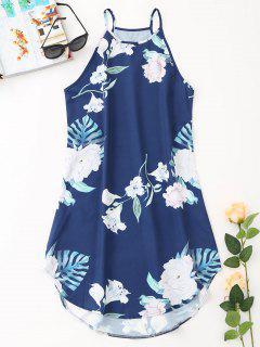 Tropical Floral Beach Mini Dress - Cadetblue M