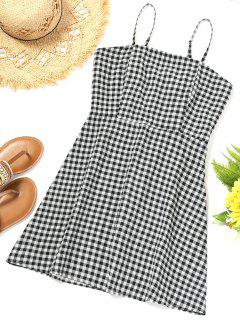 Smocked Back Gingham Slip Beach Dress - Plaid L
