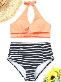 Haut Bikini Torsadé à Rayures Avec Bas à Taille Haute - Orange Rose L