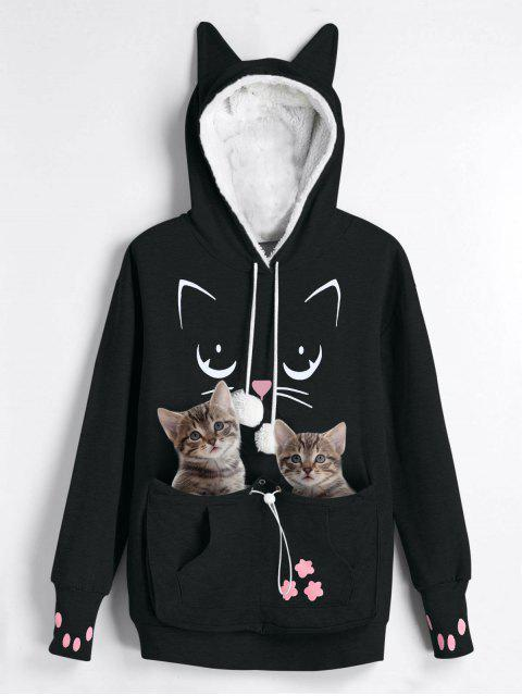 hot Plus Size Cat Carrier Pouch Pocket Hoodie - BLACK XL Mobile