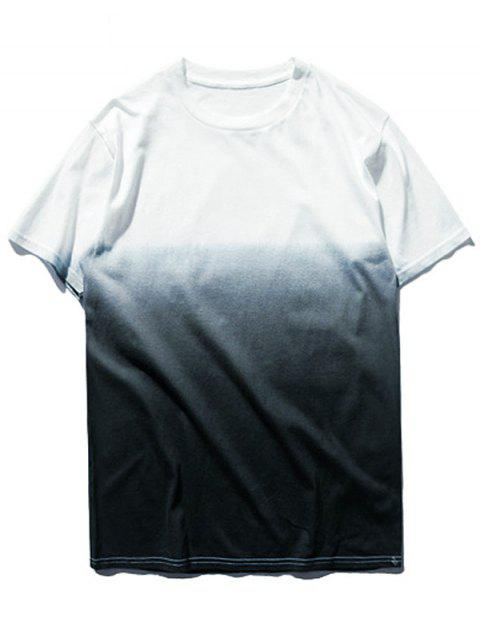 women Ombre Dip Dye Tee - GREY AND WHITE XL Mobile