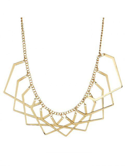 ladies Geometric Charm Necklace - GOLDEN  Mobile