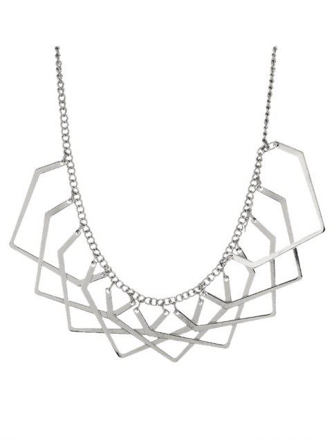 lady Geometric Charm Necklace - SILVER  Mobile