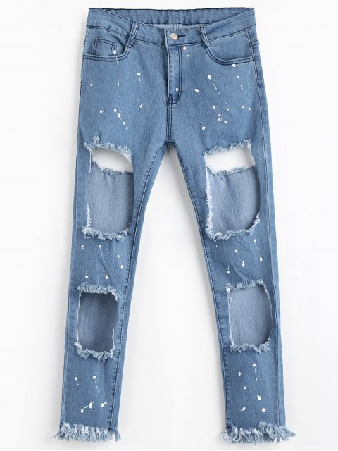 Zipper Fly Frayed Cut Out Jeans - Azul XL Mobile