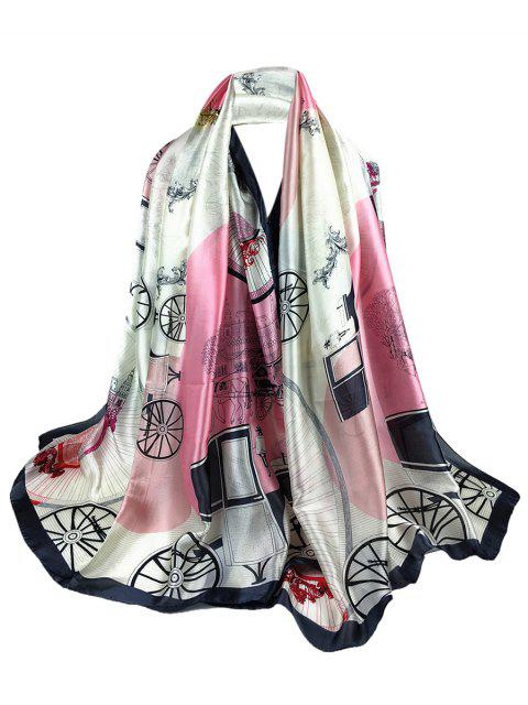 best Soft Light Elegant Castle Pattern Sheer Scarf - PINK  Mobile