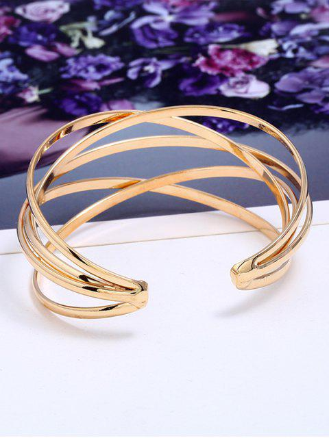 womens Simple Multilayered Geometric Cuff Bracelet - GOLDEN  Mobile