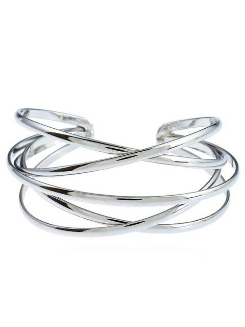 women Simple Multilayered Geometric Cuff Bracelet - SILVER  Mobile