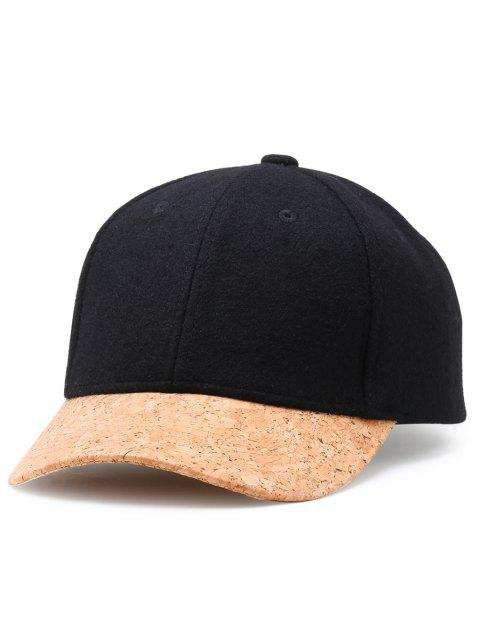 unique Simple Line Embroidery Faux Wool Baseball Cap - BLACK  Mobile