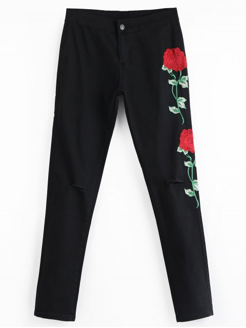 lady Floral Embroidered Patch Ripped Pants - BLACK L Mobile