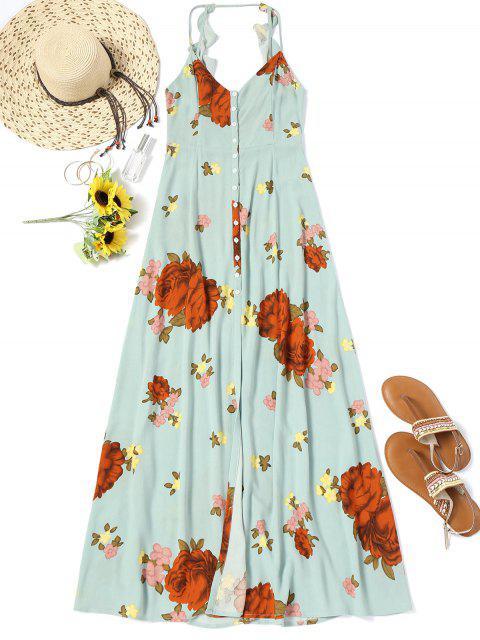 ladies Buttons Long Beach Floral Dress - LIGHT GREEN M Mobile