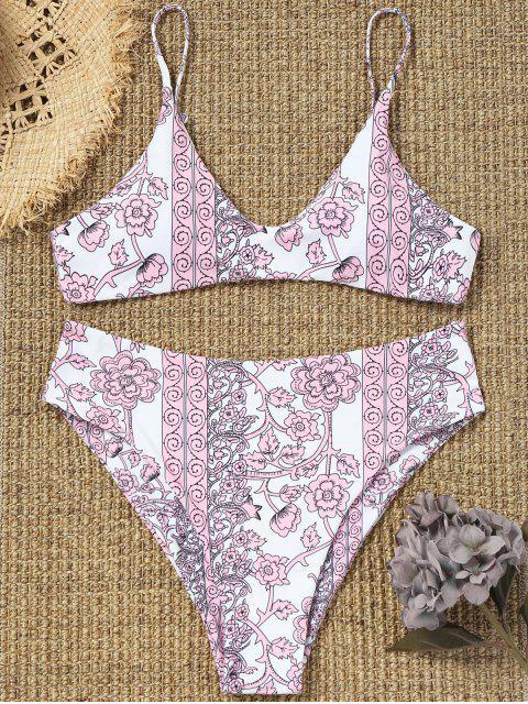 ladies Tiny Floral High Cut Plus Size Bathing Suit - PINK 3XL Mobile