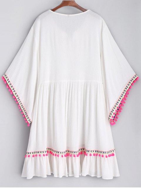 Vestido de Playa de Bata con Bordado de Pompón - Blanco S Mobile