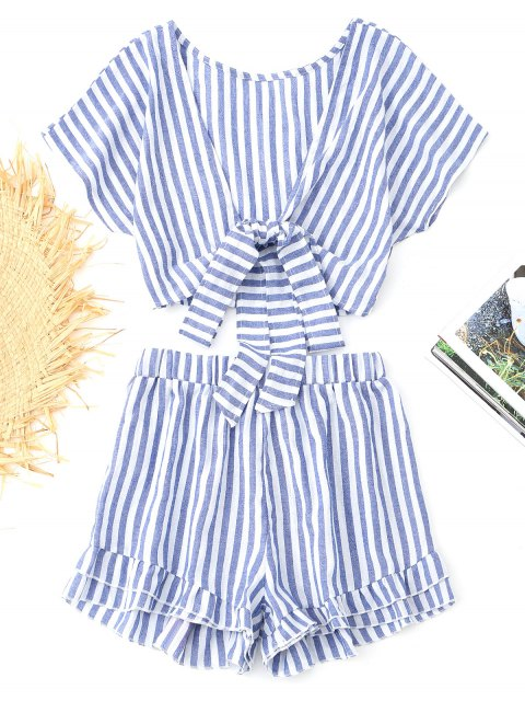 shop Bowknot Stripes Top and Tiered Hem Shorts Set - BLUE S Mobile