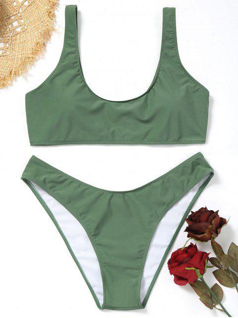 women's Plus Size Scoop High Cut Bikini Set - ARMY GREEN 4XL Mobile