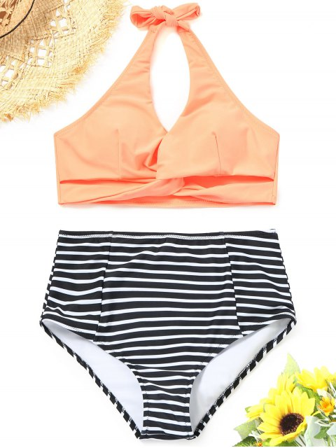 sale Twist Striped Bikini Top with High Waisted Bottoms - ORANGEPINK S Mobile