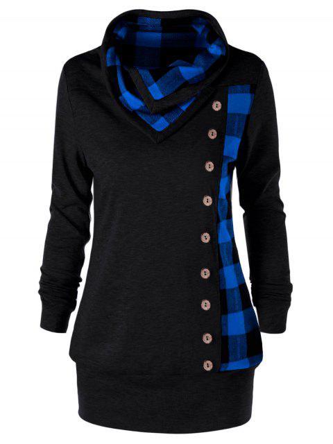 Übergroße Kariertes Cowl Hals Sweatshirt - Blau & Schwarz 4XL Mobile