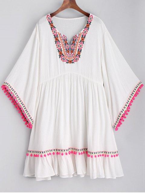Vestido de playa bordado Pom Poms - Blanco XL Mobile