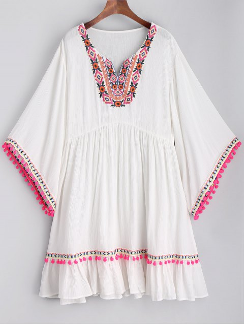 women Embroidered Pom Poms Smock Beach Dress - WHITE L Mobile
