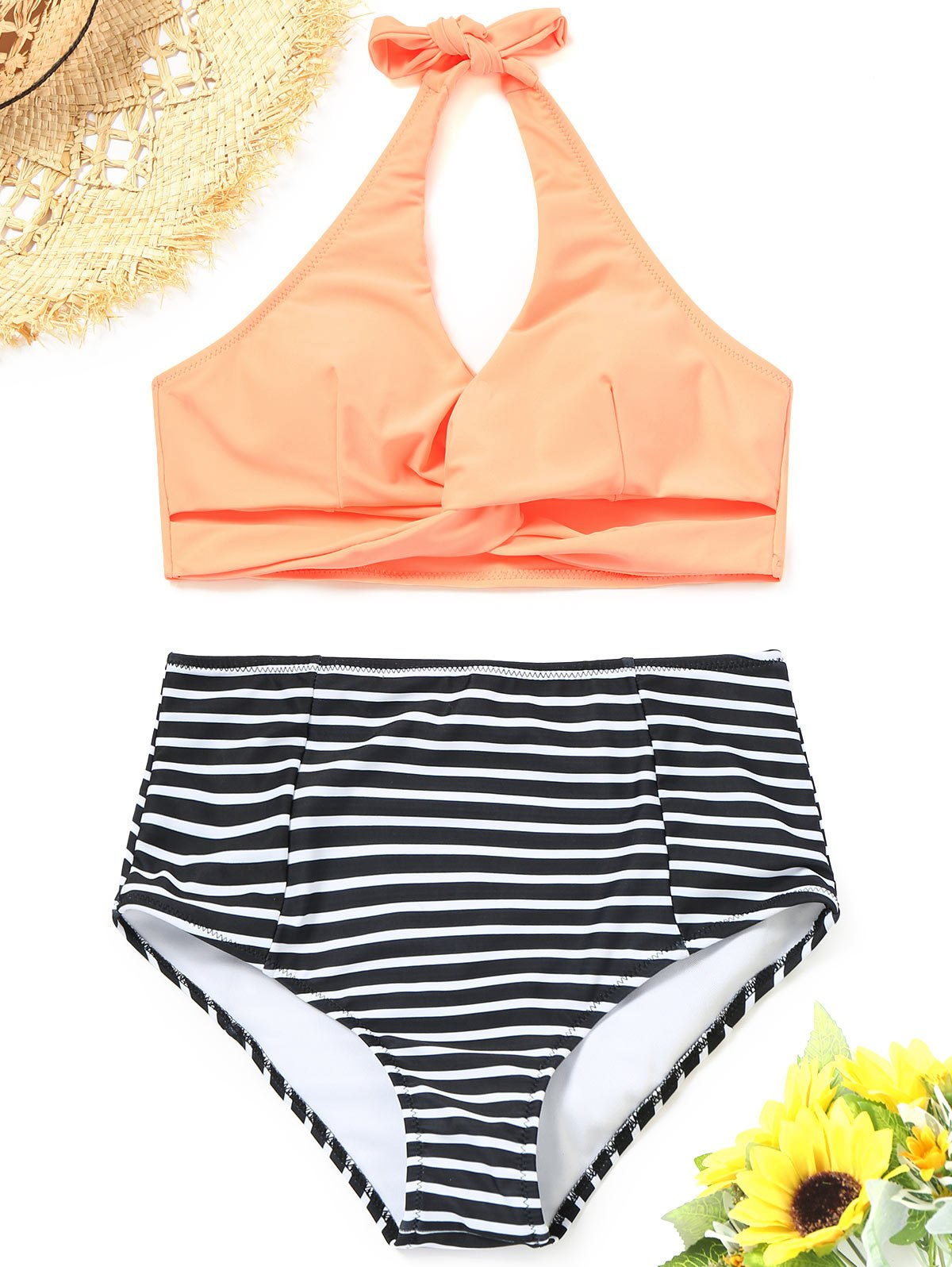 Twist Striped Bikini Top with High Waisted Bottoms 246483202