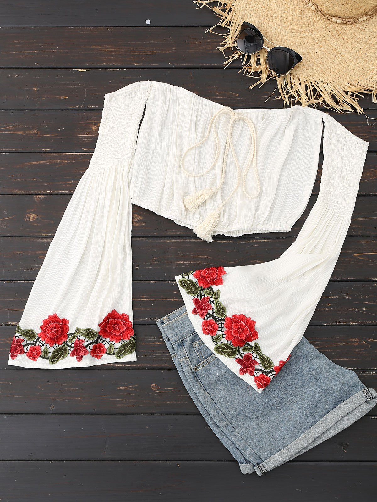Embroidered Patch Off Shoulder Bell Sleeve Top фото