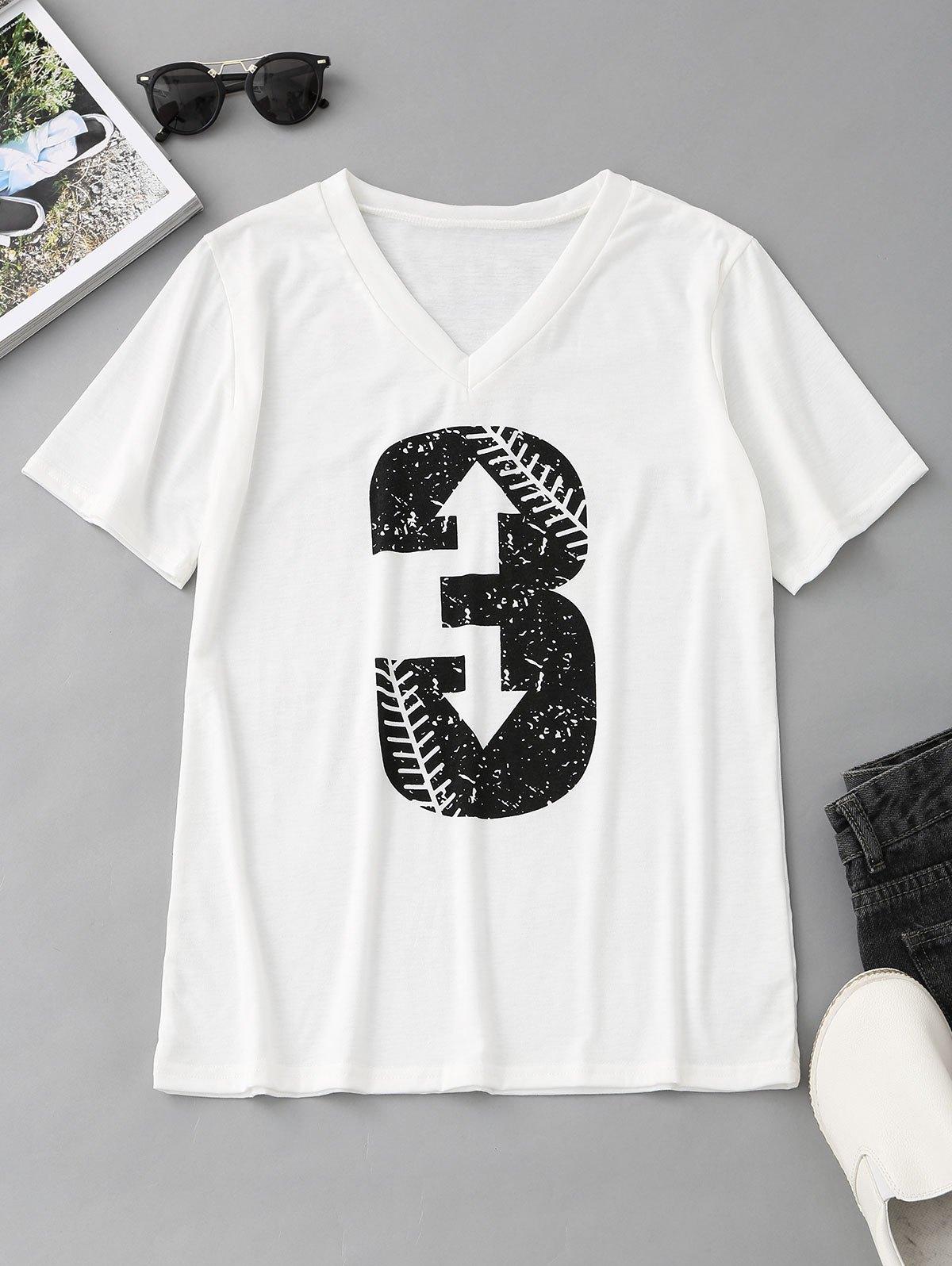 V Neck Number Print T Shirt 246466101